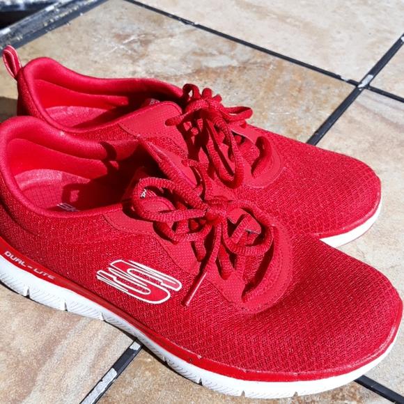 Skechers Red Memory Foam Tennis Shoes